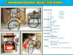 Indonesian Rickshaw Type 28 Inchi (Becak), Becak Mini
