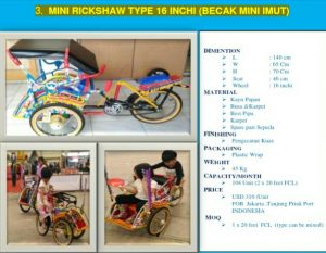 Mini Rickshaw Type 16 Inchi (Becak Mini Imut), Becak Mini