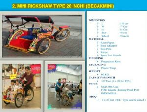 Mini Rickshaw Type 20 Inchi (Becak Mini), Becak Mini
